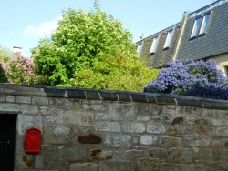 postbox and blue